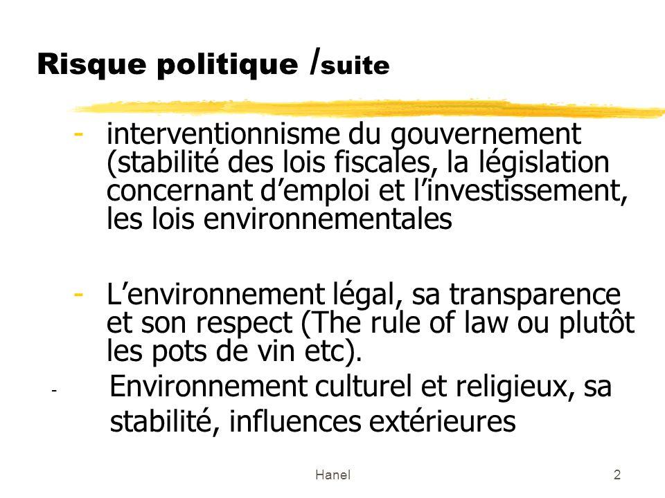 Hanel2 Risque politique / suite -interventionnisme du gouvernement (stabilité des lois fiscales, la législation concernant demploi et linvestissement,