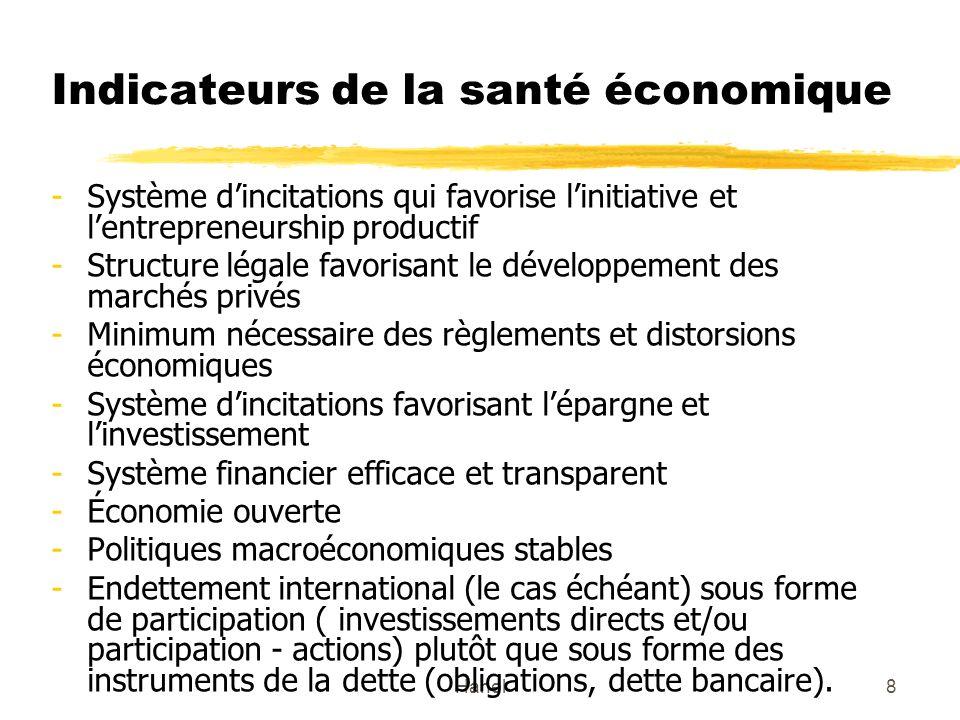 Hanel8 Indicateurs de la santé économique -Système dincitations qui favorise linitiative et lentrepreneurship productif -Structure légale favorisant l