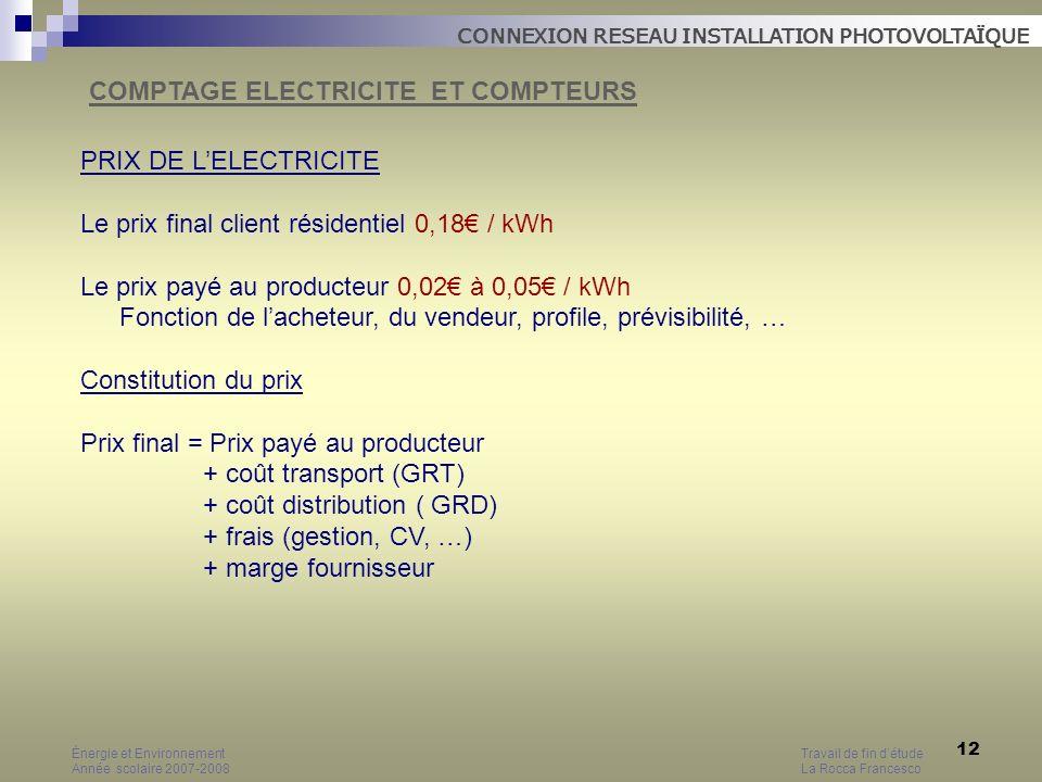 12 PRIX DE LELECTRICITE Le prix final client résidentiel 0,18 / kWh Le prix payé au producteur 0,02 à 0,05 / kWh Fonction de lacheteur, du vendeur, pr