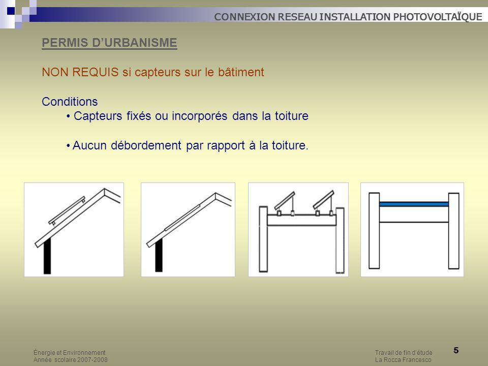5 PERMIS DURBANISME NON REQUIS si capteurs sur le bâtiment Conditions Capteurs fixés ou incorporés dans la toiture Aucun débordement par rapport à la