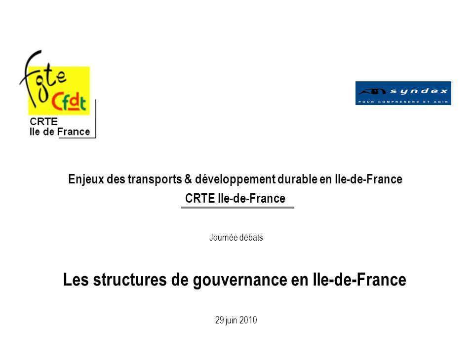 1 Enjeux des transports & développement durable en Ile-de-France CRTE Ile-de-France Journée débats Les structures de gouvernance en Ile-de-France 29 juin 2010