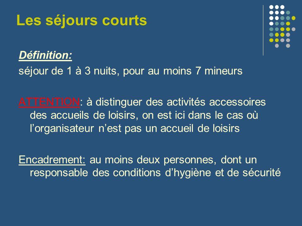 Les séjours courts Définition: séjour de 1 à 3 nuits, pour au moins 7 mineurs ATTENTION: à distinguer des activités accessoires des accueils de loisir