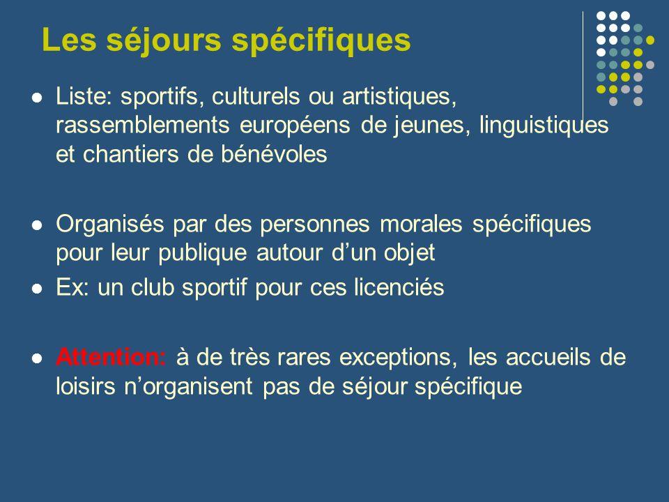 Les séjours spécifiques Liste: sportifs, culturels ou artistiques, rassemblements européens de jeunes, linguistiques et chantiers de bénévoles Organis