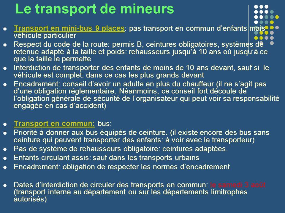 Le transport de mineurs Transport en mini-bus 9 places: pas transport en commun denfants mais véhicule particulier Respect du code de la route: permis