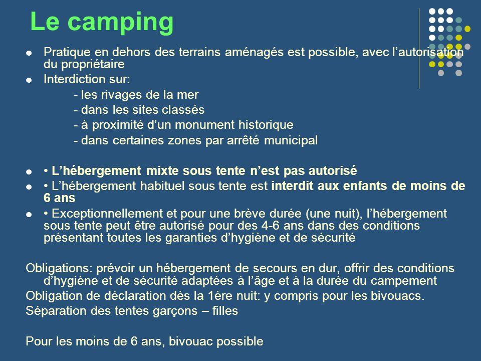 Le camping Pratique en dehors des terrains aménagés est possible, avec lautorisation du propriétaire Interdiction sur: - les rivages de la mer - dans