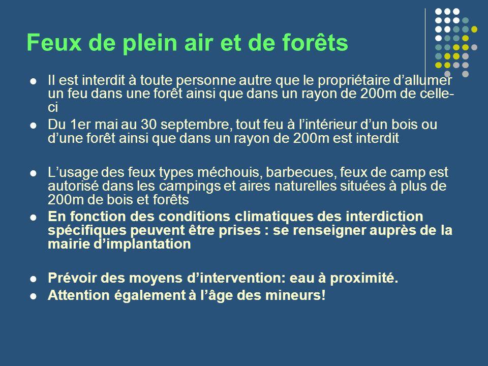 Feux de plein air et de forêts Il est interdit à toute personne autre que le propriétaire dallumer un feu dans une forêt ainsi que dans un rayon de 20