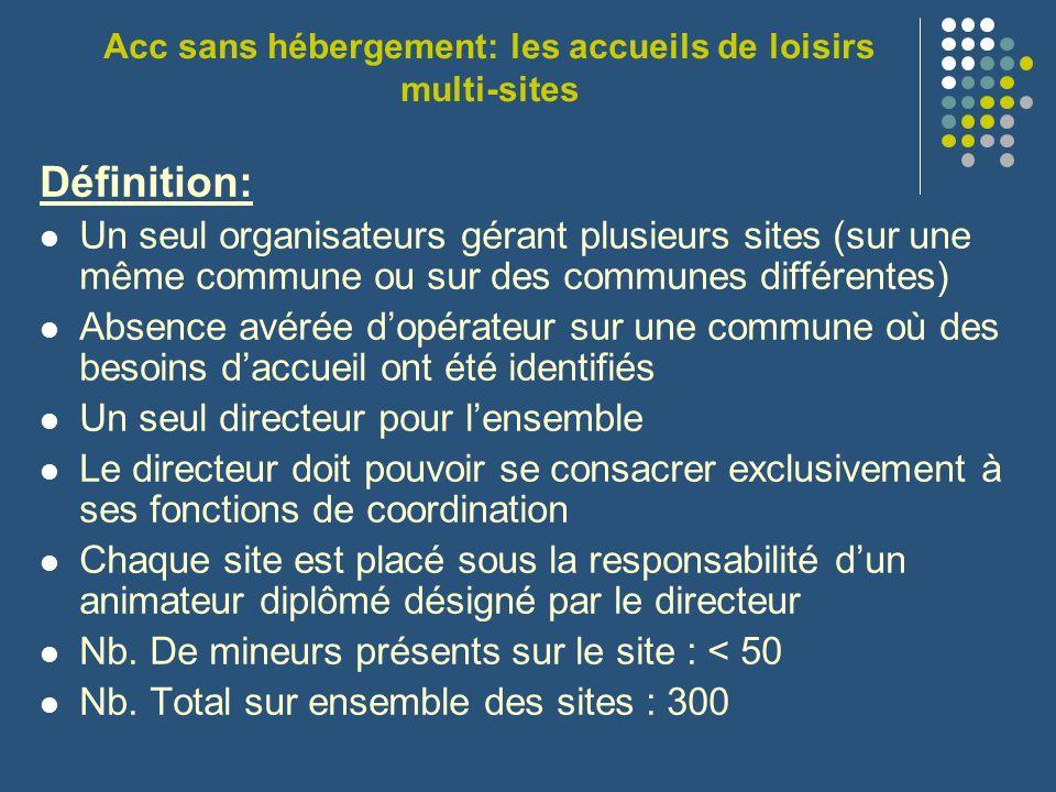 Acc sans hébergement: les accueils de loisirs multi-sites Définition: Un seul organisateurs gérant plusieurs sites (sur une même commune ou sur des co