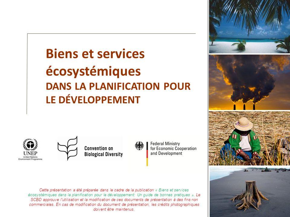 Biens et services écosystémiques DANS LA PLANIFICATION POUR LE DÉVELOPPEMENT Cette présentation a été préparée dans le cadre de la publication « Biens
