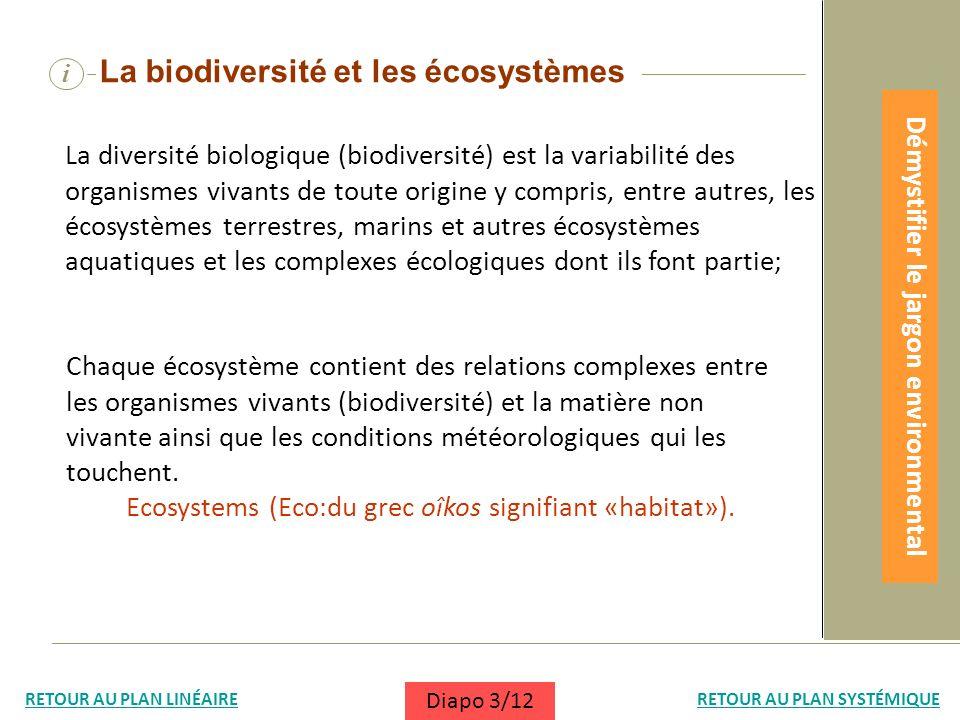 i La biodiversité et les écosystèmes La diversité biologique (biodiversité) est la variabilité des organismes vivants de toute origine y compris, entr