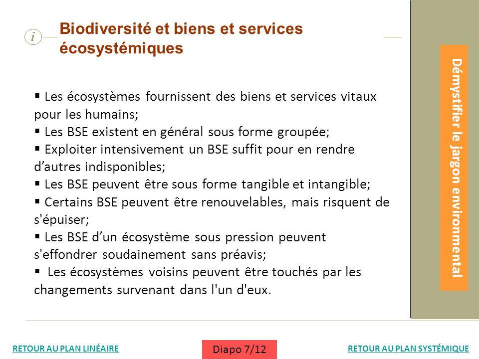 i Biodiversité et biens et services écosystémiques Les écosystèmes fournissent des biens et services vitaux pour les humains; Les BSE existent en géné