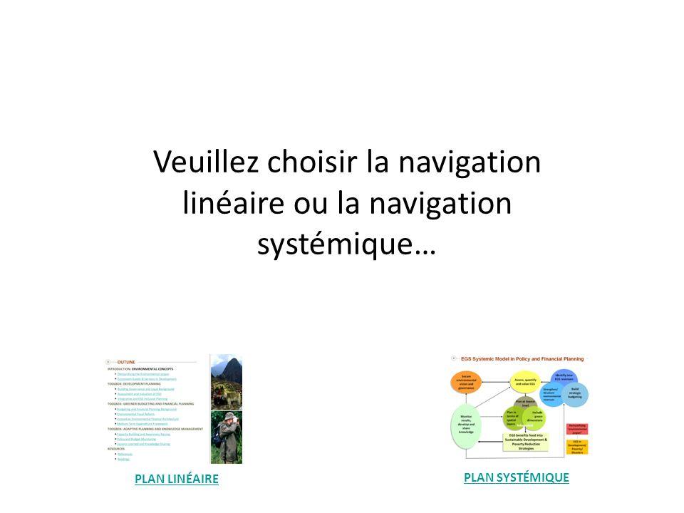 Veuillez choisir la navigation linéaire ou la navigation systémique… PLAN LINÉAIRE PLAN SYSTÉMIQUE