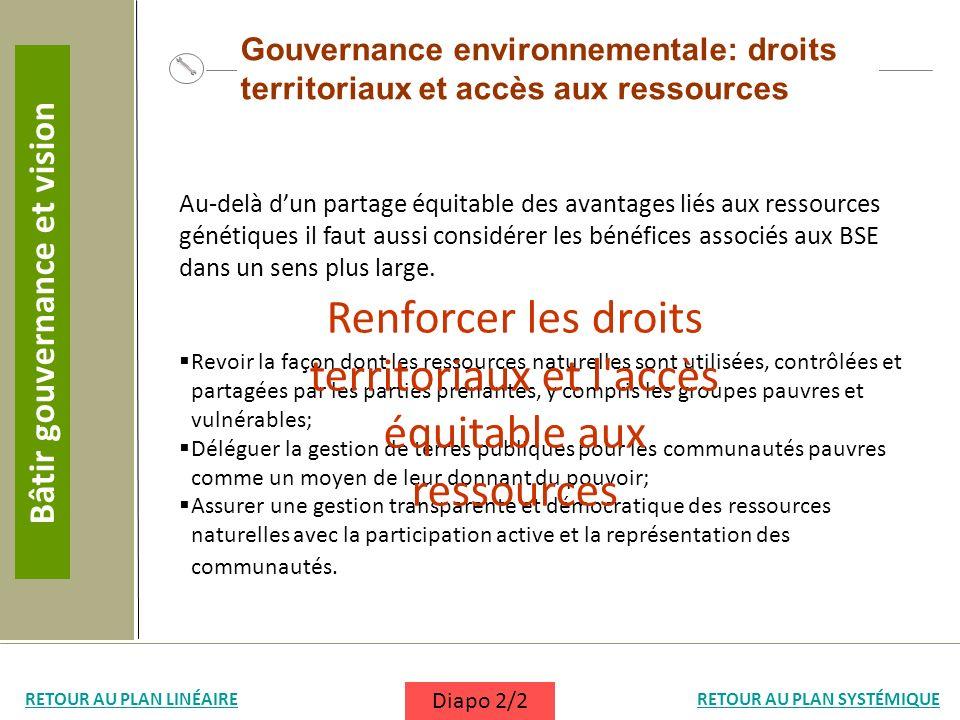 Gouvernance environnementale: droits territoriaux et accès aux ressources Au-delà dun partage équitable des avantages liés aux ressources génétiques i
