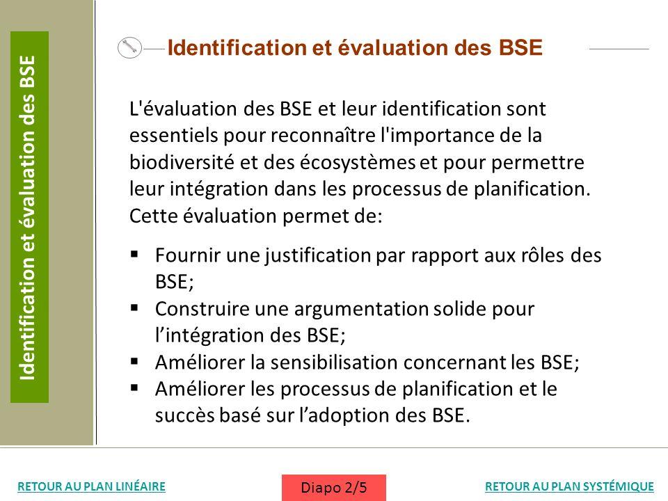 Identification et évaluation des BSE L'évaluation des BSE et leur identification sont essentiels pour reconnaître l'importance de la biodiversité et d