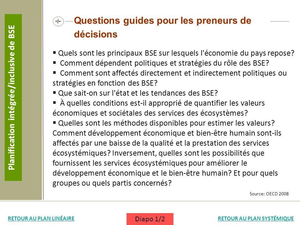 Questions guides pour les preneurs de décisions Quels sont les principaux BSE sur lesquels l'économie du pays repose? Comment dépendent politiques et