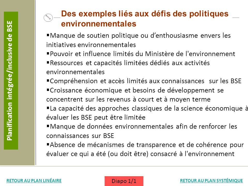 Manque de soutien politique ou denthousiasme envers les initiatives environnementales Pouvoir et influence limités du Ministère de l'environnement Res