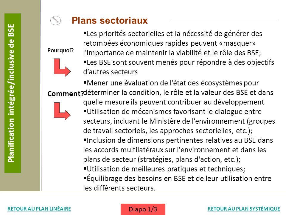 Plans sectoriaux Les priorités sectorielles et la nécessité de générer des retombées économiques rapides peuvent «masquer» l'importance de maintenir l