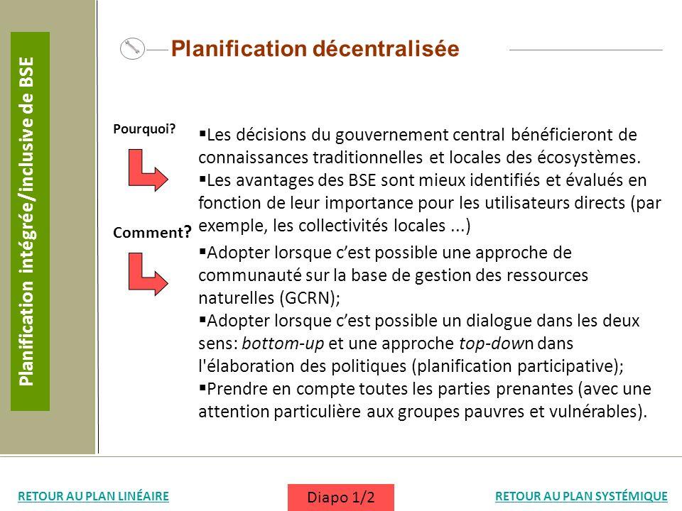 Planification décentralisée Les décisions du gouvernement central bénéficieront de connaissances traditionnelles et locales des écosystèmes. Les avant