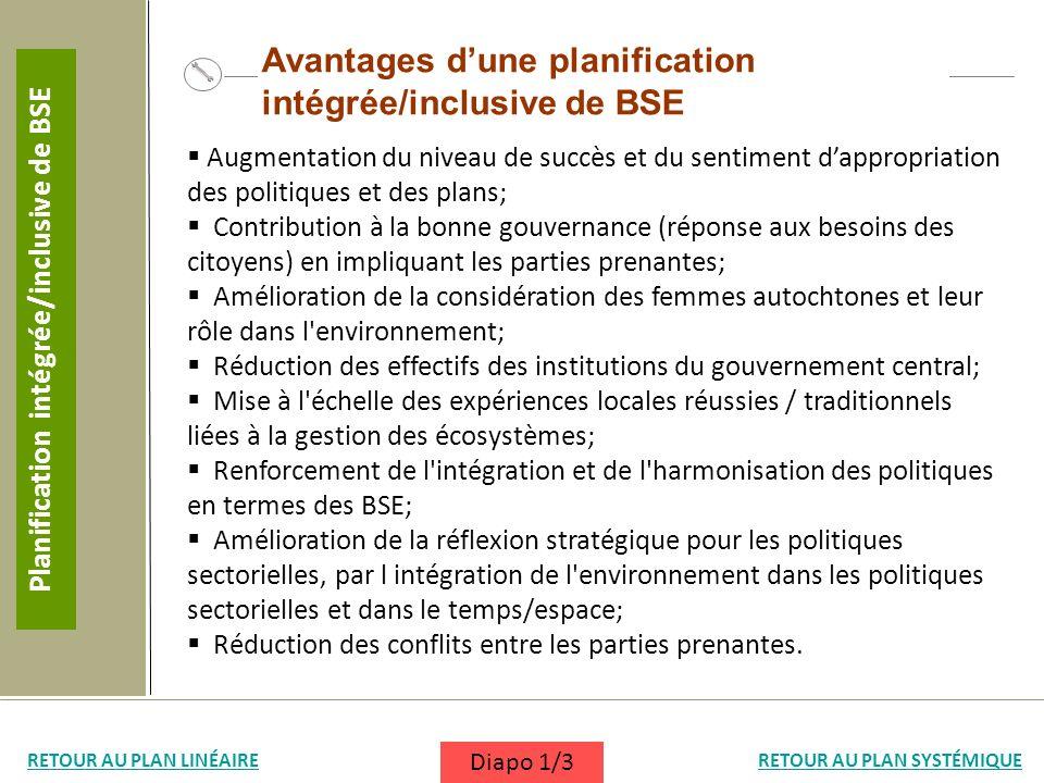 Avantages dune planification intégrée/inclusive de BSE Augmentation du niveau de succès et du sentiment dappropriation des politiques et des plans; Co