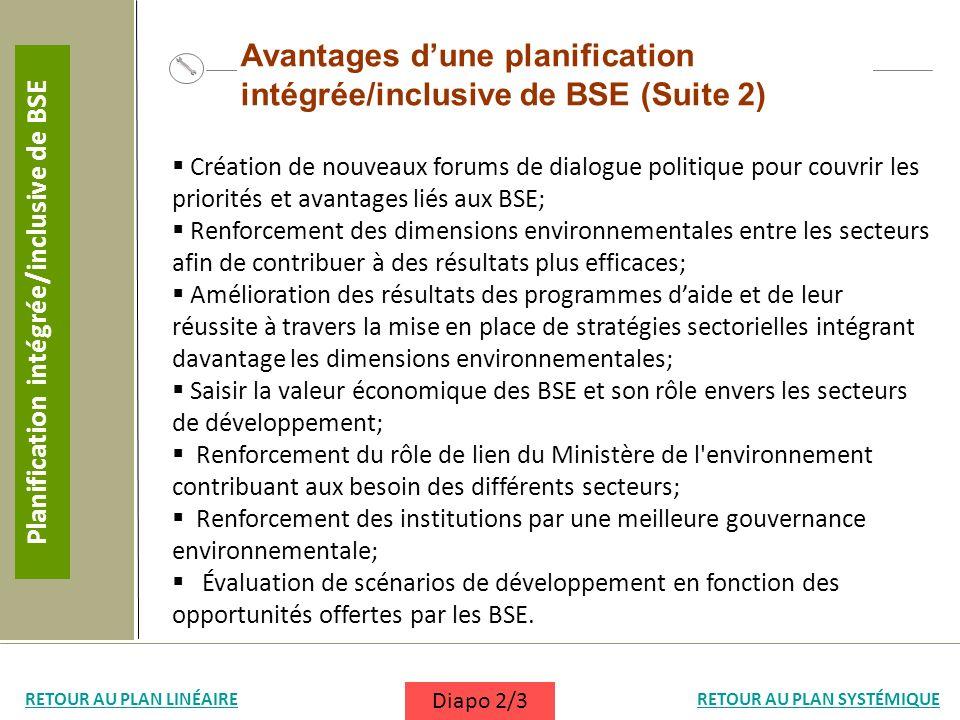 Création de nouveaux forums de dialogue politique pour couvrir les priorités et avantages liés aux BSE; Renforcement des dimensions environnementales