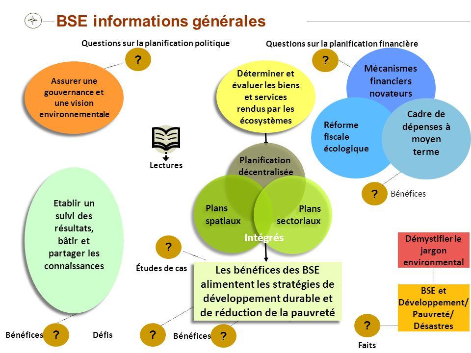Questions guides pour les preneurs de décisions Quels sont les principaux BSE sur lesquels l économie du pays repose.