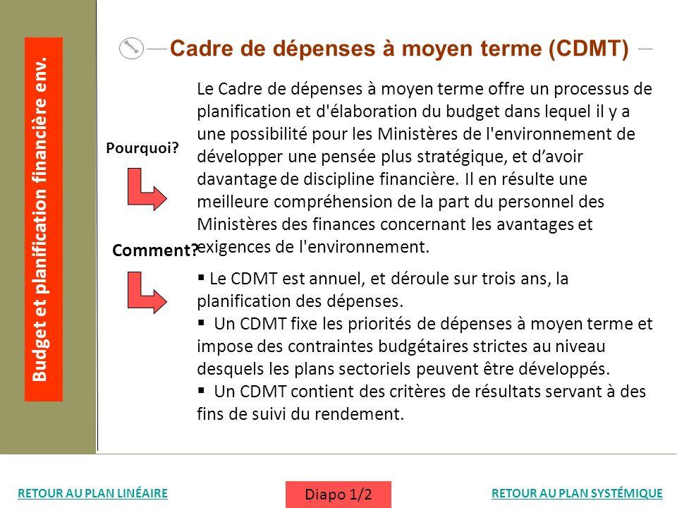 Le CDMT est annuel, et déroule sur trois ans, la planification des dépenses. Un CDMT fixe les priorités de dépenses à moyen terme et impose des contra