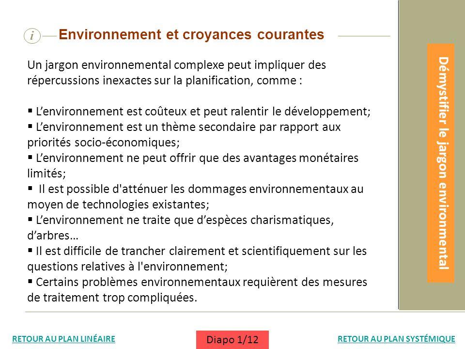i Un jargon environnemental complexe peut impliquer des répercussions inexactes sur la planification, comme : Lenvironnement est coûteux et peut ralen