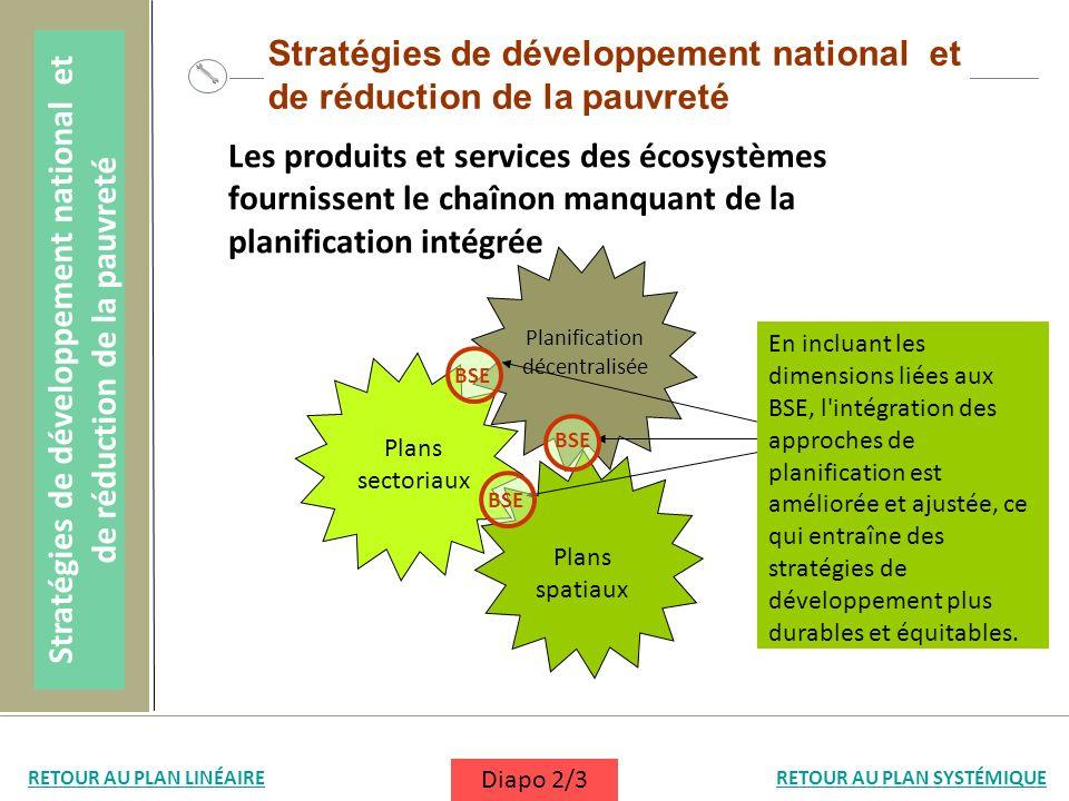 Stratégies de développement national et de réduction de la pauvreté Les produits et services des écosystèmes fournissent le chaînon manquant de la pla