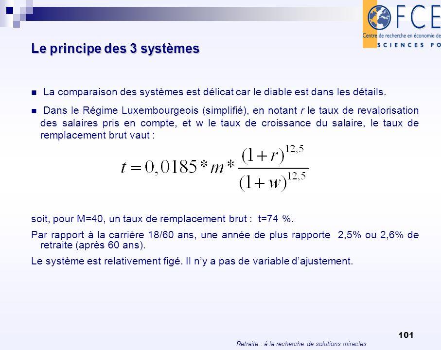 Retraite : à la recherche de solutions miracles 101 Le principe des 3 systèmes La comparaison des systèmes est délicat car le diable est dans les déta