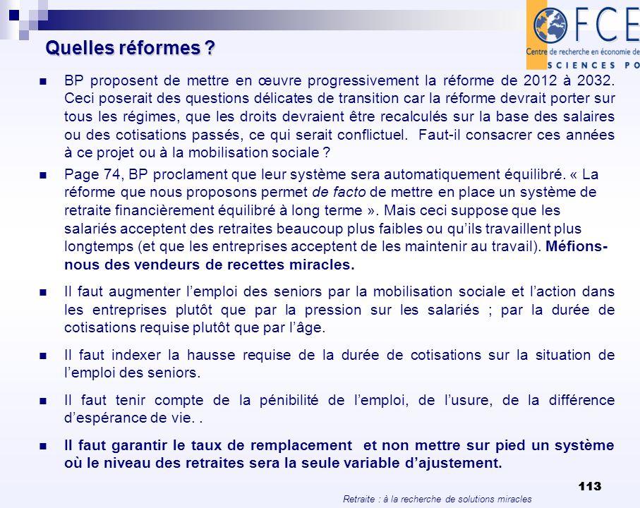 Retraite : à la recherche de solutions miracles 113 Quelles réformes ? BP proposent de mettre en œuvre progressivement la réforme de 2012 à 2032. Ceci