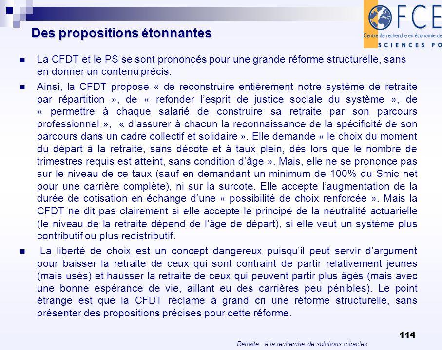 Retraite : à la recherche de solutions miracles 114 Des propositions étonnantes La CFDT et le PS se sont prononcés pour une grande réforme structurell