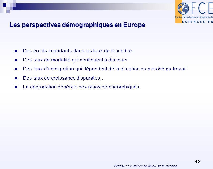 Retraite : à la recherche de solutions miracles 12 Les perspectives démographiques en Europe Des écarts importants dans les taux de fécondité. Des tau