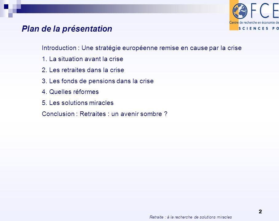 Retraite : à la recherche de solutions miracles 2 Plan de la présentation Introduction : Une stratégie européenne remise en cause par la crise 1. La s