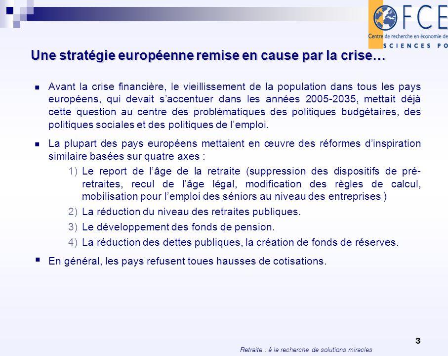 Retraite : à la recherche de solutions miracles 4 Une stratégie européenne remise en cause par la crise… La crise financière de 2008-2009 est venue bouleverser la mise en œuvre de ces stratégies.