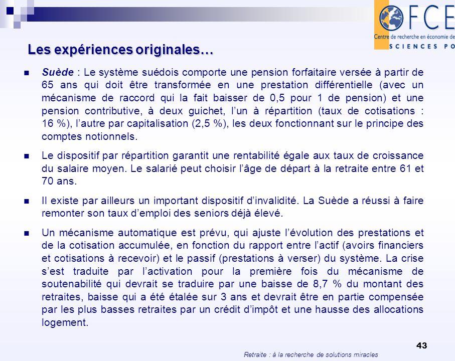 Retraite : à la recherche de solutions miracles 43 Les expériences originales… Suède : Le système suédois comporte une pension forfaitaire versée à pa