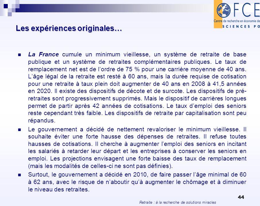 Retraite : à la recherche de solutions miracles 44 Les expériences originales… La France cumule un minimum vieillesse, un système de retraite de base