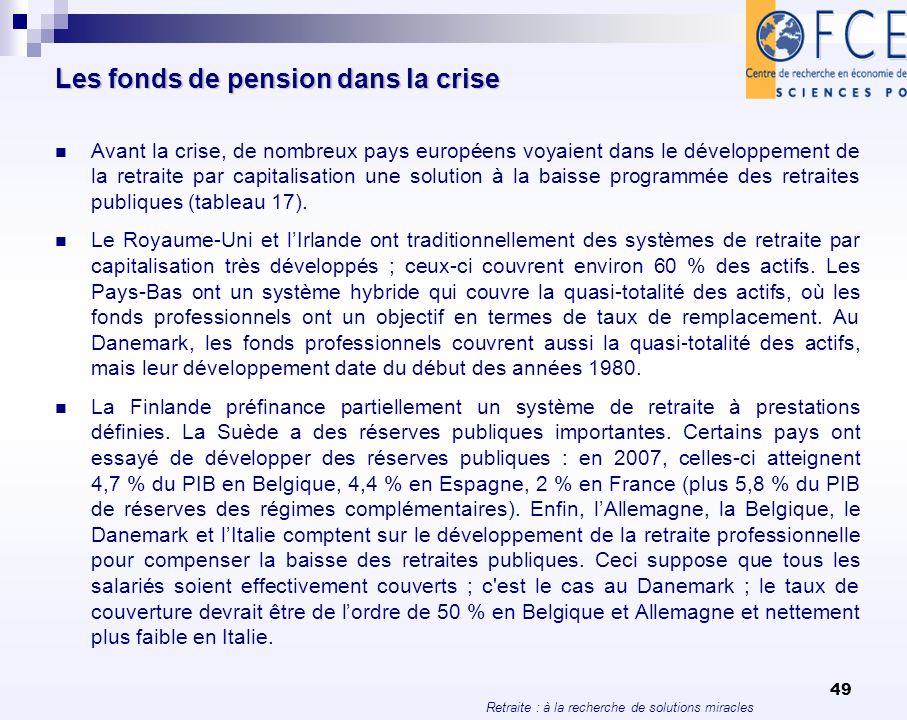 Retraite : à la recherche de solutions miracles 49 Les fonds de pension dans la crise Avant la crise, de nombreux pays européens voyaient dans le déve