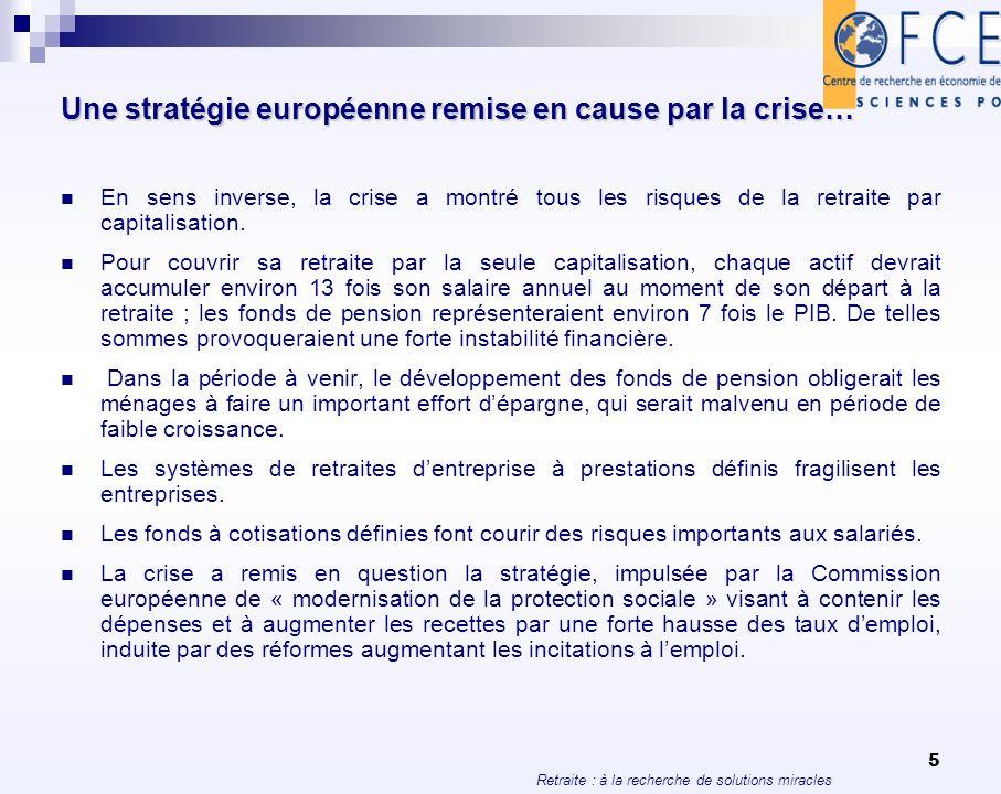 Retraite : à la recherche de solutions miracles 16 Evolution prévue de la population 2008/2050 Totale15-64ans UE15 8,3 -6,8 Irlande47,7 26,7 Luxembourg40,2 24,2 Royaume-Uni21,5 10,6 Espagne17,4 -6,4 Suède16,3 5,0 France14,7 1,0 Belgique14,0 1,4 Autriche 9,6 -5,4 Portugal 7,6 -8,5 Danemark 7,3 -2,8 Pays-Bas 3,1-10,8 Italie 2,9-14,0 Finlande 2,0-11,4 Grèce 1,8-22,2 Allemagne-9,4-23,0 États-Unis45,030,0 Source : Eurostat (2009).