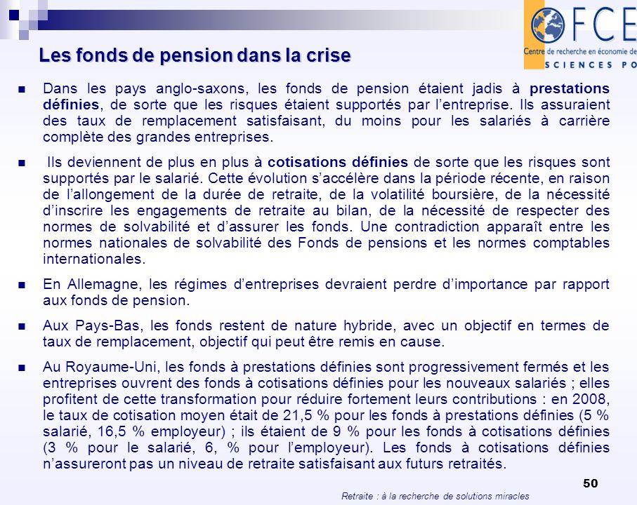 Retraite : à la recherche de solutions miracles 50 Les fonds de pension dans la crise Dans les pays anglo-saxons, les fonds de pension étaient jadis à
