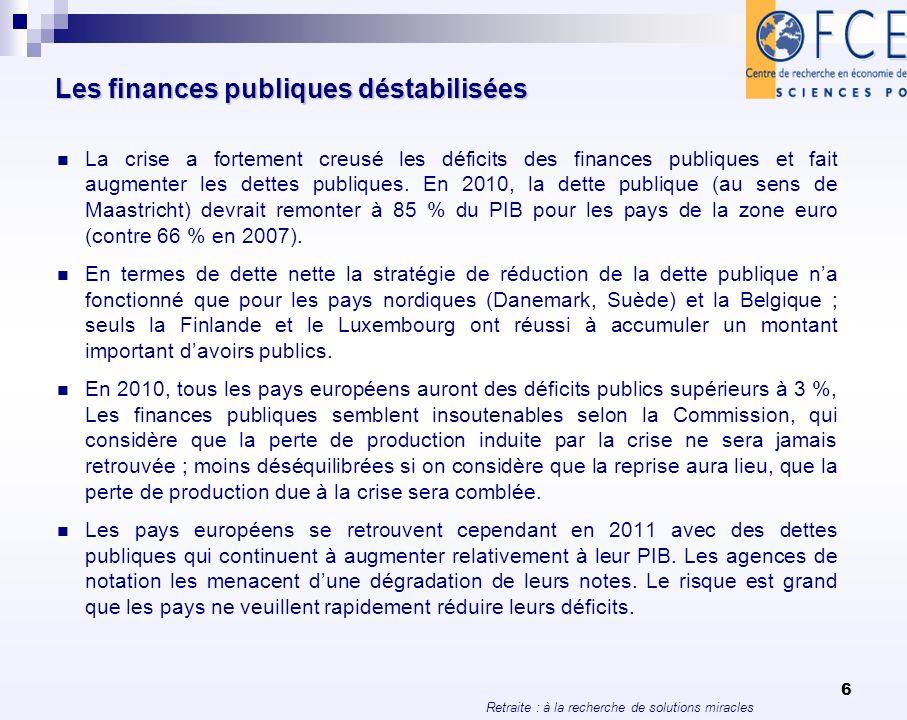 Retraite : à la recherche de solutions miracles 6 Les finances publiques déstabilisées La crise a fortement creusé les déficits des finances publiques
