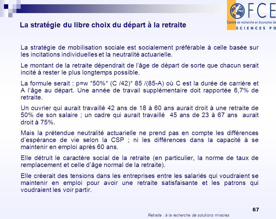 Retraite : à la recherche de solutions miracles 67 La stratégie du libre choix du départ à la retraite La stratégie de mobilisation sociale est social