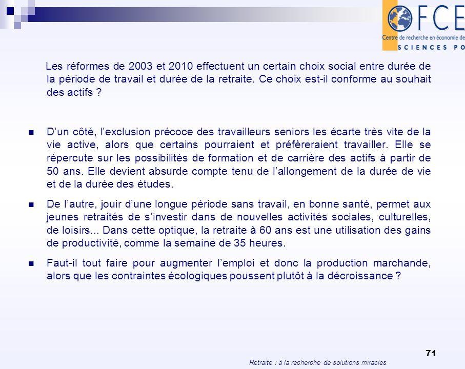 Retraite : à la recherche de solutions miracles 71 Les réformes de 2003 et 2010 effectuent un certain choix social entre durée de la période de travai