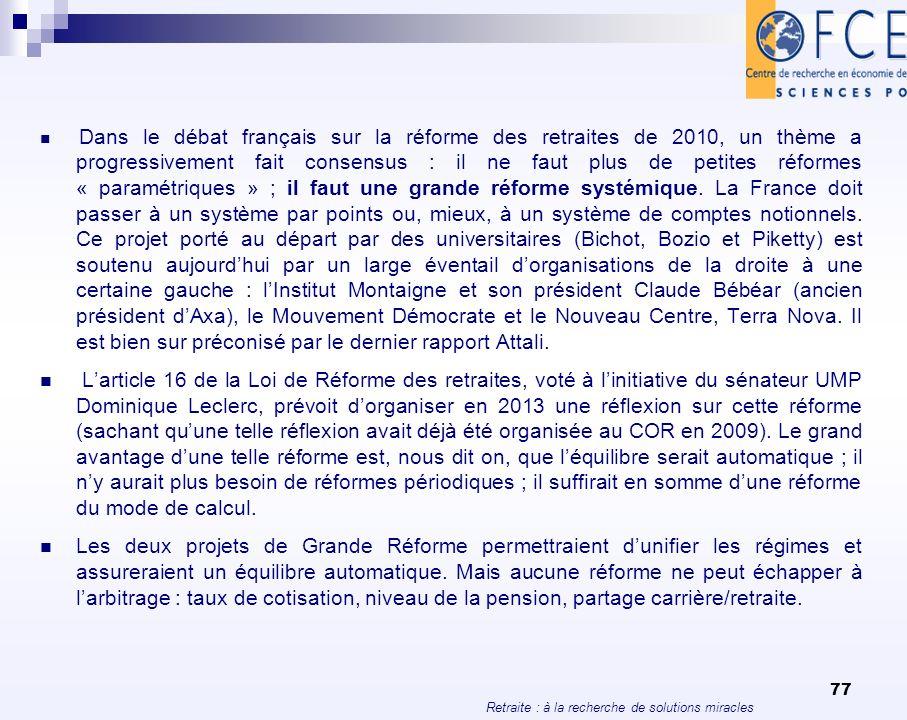Retraite : à la recherche de solutions miracles 77 Dans le débat français sur la réforme des retraites de 2010, un thème a progressivement fait consen