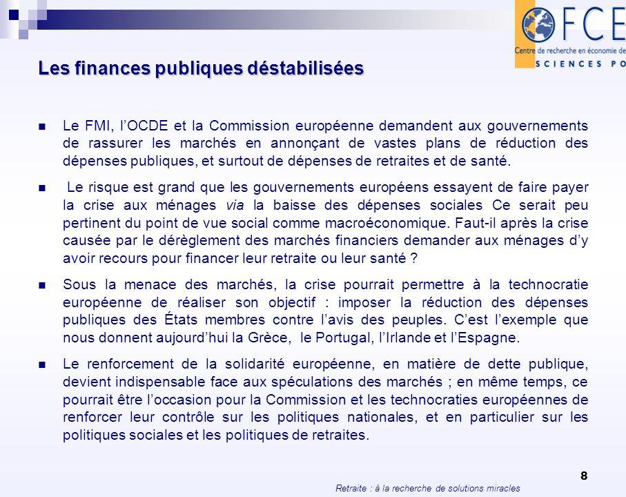 Retraite : à la recherche de solutions miracles 8 Les finances publiques déstabilisées Le FMI, lOCDE et la Commission européenne demandent aux gouvern