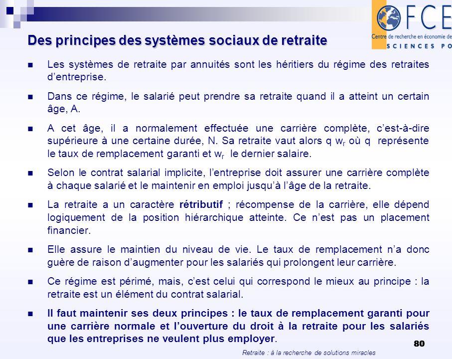 Retraite : à la recherche de solutions miracles 80 Des principes des systèmes sociaux de retraite Les systèmes de retraite par annuités sont les hérit