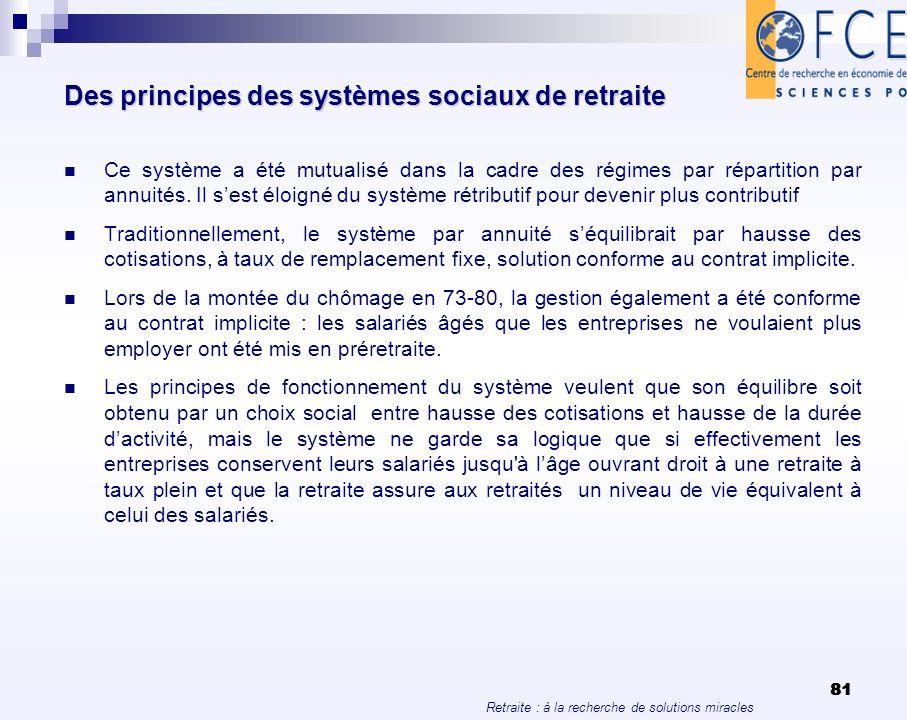 Retraite : à la recherche de solutions miracles 81 Des principes des systèmes sociaux de retraite Ce système a été mutualisé dans la cadre des régimes
