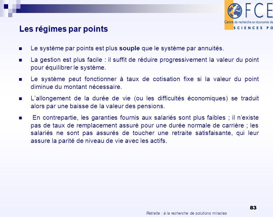 Retraite : à la recherche de solutions miracles 83 Les régimes par points Le système par points est plus souple que le système par annuités. La gestio