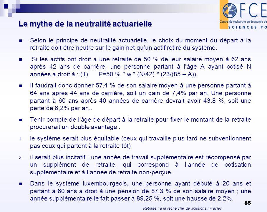 Retraite : à la recherche de solutions miracles 85 Le mythe de la neutralité actuarielle Selon le principe de neutralité actuarielle, le choix du mome