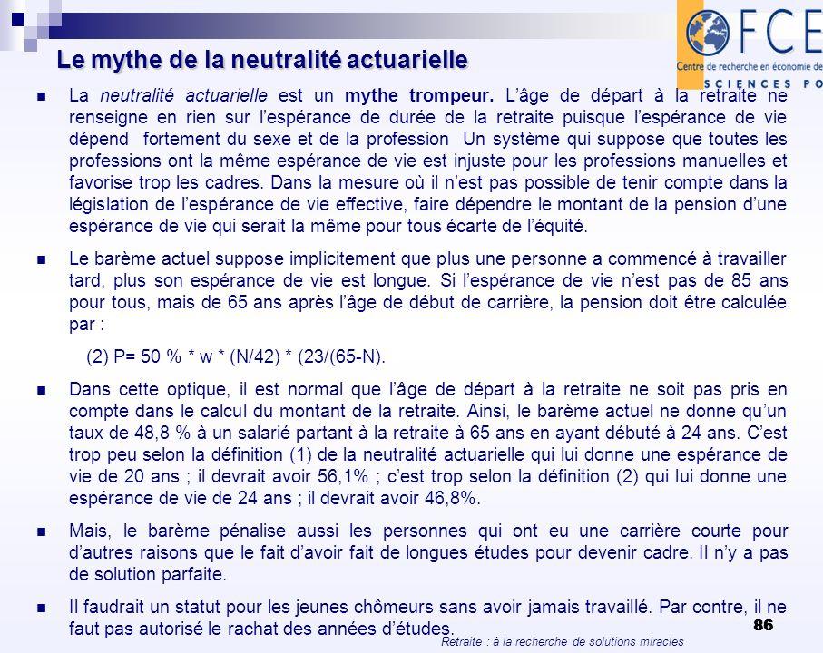 Retraite : à la recherche de solutions miracles 86 Le mythe de la neutralité actuarielle La neutralité actuarielle est un mythe trompeur. Lâge de dépa
