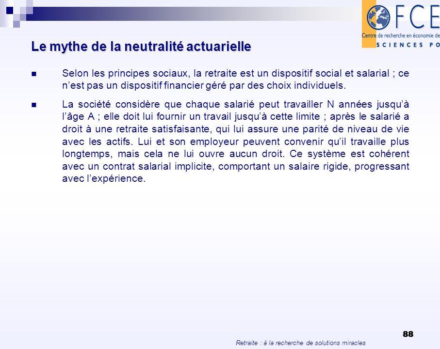 Retraite : à la recherche de solutions miracles 88 Le mythe de la neutralité actuarielle Selon les principes sociaux, la retraite est un dispositif so