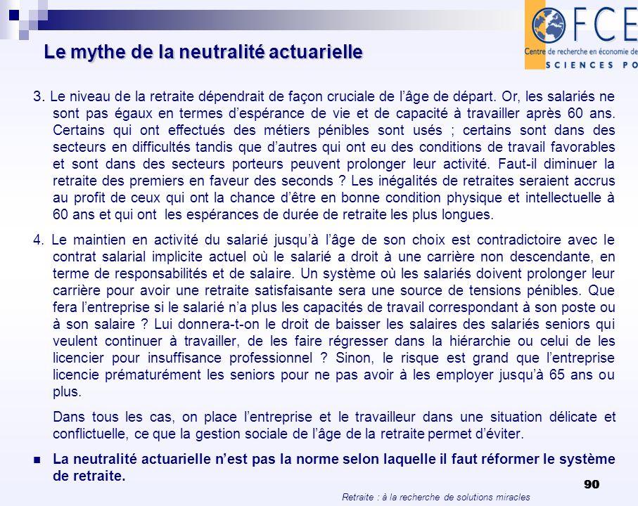 Retraite : à la recherche de solutions miracles 90 Le mythe de la neutralité actuarielle 3. Le niveau de la retraite dépendrait de façon cruciale de l
